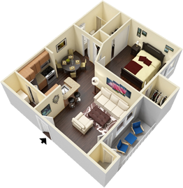 A2 - One Bedrooms / One Bath - 696 Sq. Ft.*