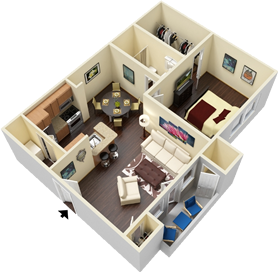 A3 - One Bedrooms / One Bath - 714  Sq. Ft.*