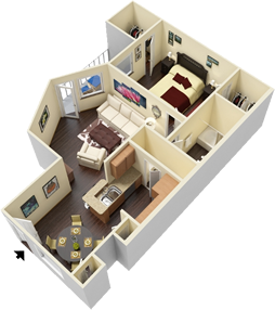 A4 - One Bedroom / One Bath - 821 Sq. Ft.*