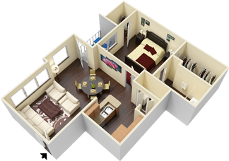 A5 - One Bedroom / One Bath - 647 Sq. Ft.*