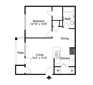 A1 - One Bedroom / One Bath - 647 Sq. Ft.*