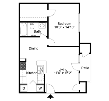 A2 - One Bedroom / One Bath - 696 Sq. Ft.*