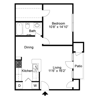 A3 - One Bedroom / One Bath - 714 Sq. Ft.*