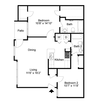 B1 - Two Bedroom / Two Bath - 1,007 Sq. Ft.*